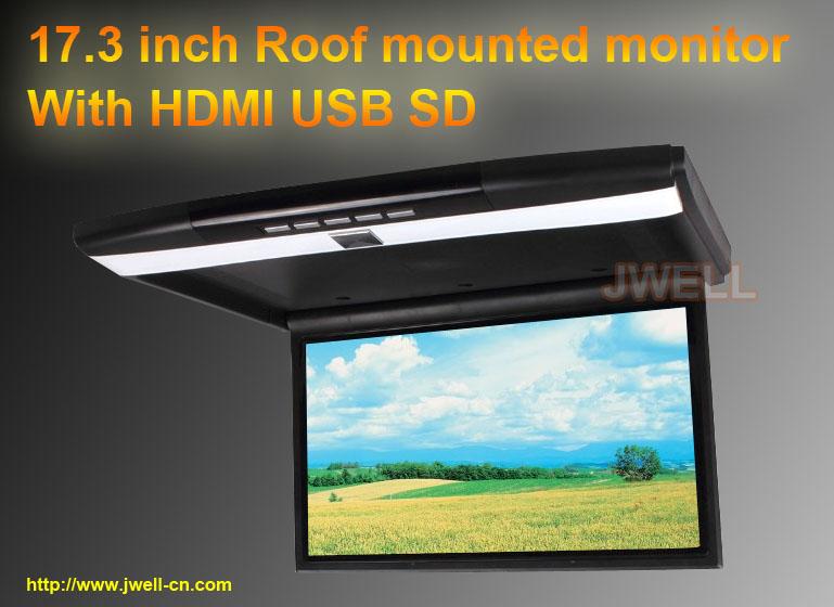 17.3 Inch Car Roof Mount Monitor With USB SD HDMI IR FM Slim 1920 X 1080