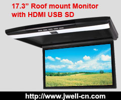 17.3 inch Car Roof Mount Monitor with USB SD HDMI IR FM Slim 1920 x 1080