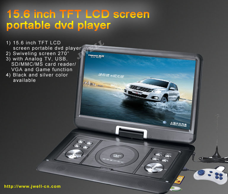 15.6 inch Portable DVD Player with TV,USB,SD,VGA,Copy and Game ...