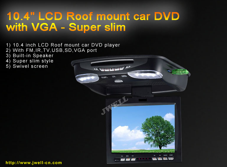 10 4 Quot Slim Flip Down Car Dvd With Vga Port J Well